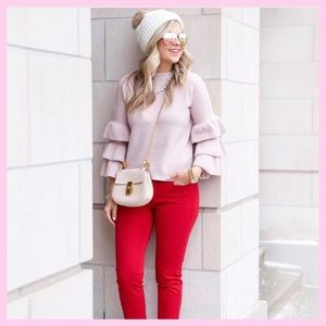 Sweaters - Pink ruffle sleeves sweater
